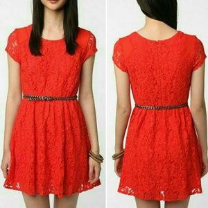Coincidence & Chance orange lace mini dress small